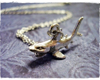 Silver Angry Shark Necklace - Silver Pewter Angry Shark Charm on a Delicate Silver Plated Cable Chain or Charm Only