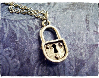Silver Padlock Necklace - Silver Pewter Padlock Charm on a Delicate 18 Inch Silver Plated Cable Chain