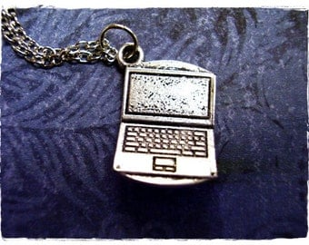 Silver Laptop Necklace - Antique Pewter Laptop Charm on a Delicate Silver Plated Cable Chain or Charm Only
