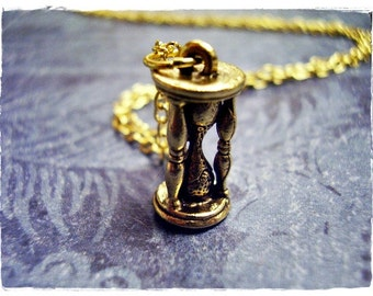 Gold Hourglass Necklace - Antique Gold Pewter Hourglass Charm on a Delicate Gold Plated Cable Chain or Charm Only