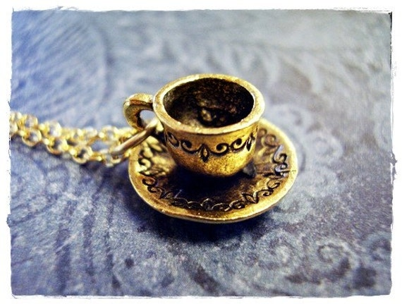 Gold Cup and Saucer Necklace - Antique Gold Pewter Cup and Saucer Charm on a Delicate 18 Inch Gold Plated Cable Chain