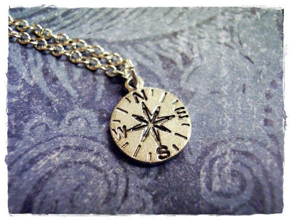 Tiny Silver Compass Necklace - Antique Pewter Compass Charm on a Delicate Silver Plated Cable Chain or Charm Only
