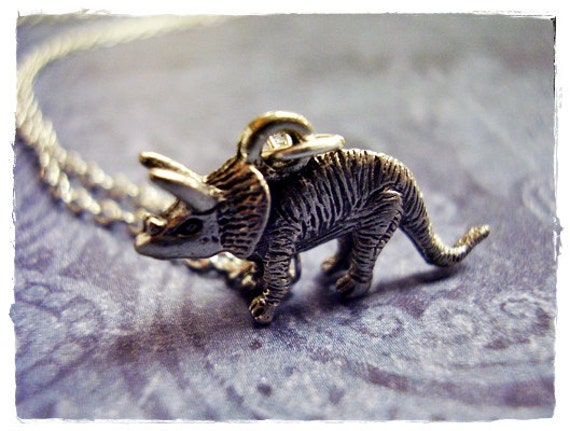 Silver Triceratops Dinosaur Necklace - Antique Pewter Triceratops Charm on a Delicate Silver Plated Cable Chain or Charm Only