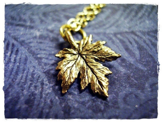 Gold Maple Leaf Necklace - Antique Gold Pewter Maple Leaf Charm on a Delicate Gold Plated Cable Chain or Charm Only