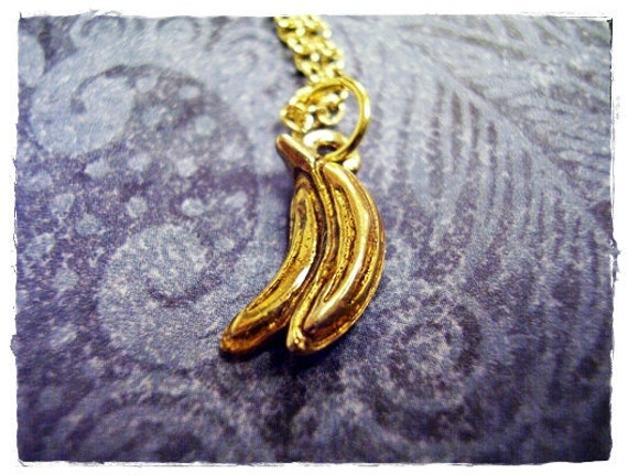 Itty Bitty Bananas Charm Necklace in Antique Gold Pewter with a Delicate 18 Inch Gold Plated Cable Chain