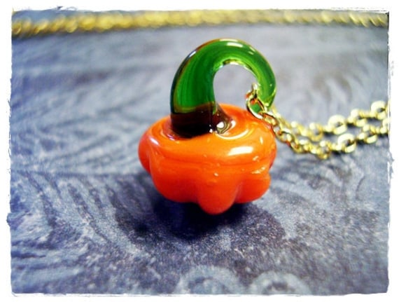 Tiny Orange Pumpkin Necklace - Orange and Green Glass Resin Pumpkin Charm on a Delicate Cable Chain or Charm Only