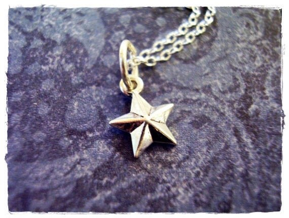 Tiny Nautical Star Necklace - Sterling Silver Nautical Star Charm on a Delicate Sterling Silver Cable Chain or Charm Only