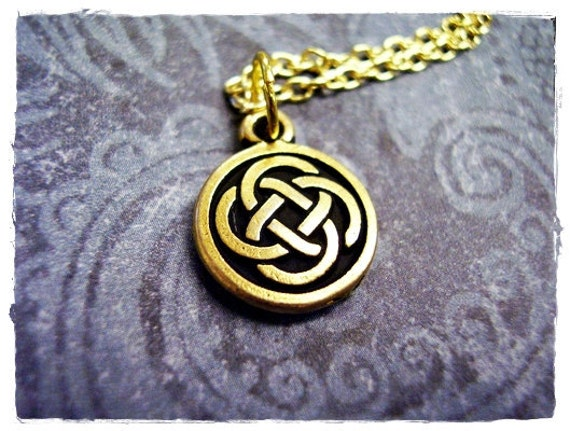 Gold Celtic Knot Necklace - Antique Gold Pewter Celtic Knot Charm on a Delicate 18 Inch Gold Plated Cable Chain