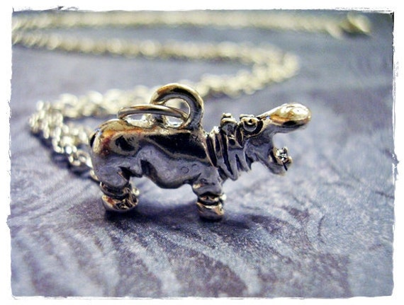 Silver Hippo Necklace - Silver Pewter Hippo Charm on a Delicate Silver Plated Cable Chain or Charm Only