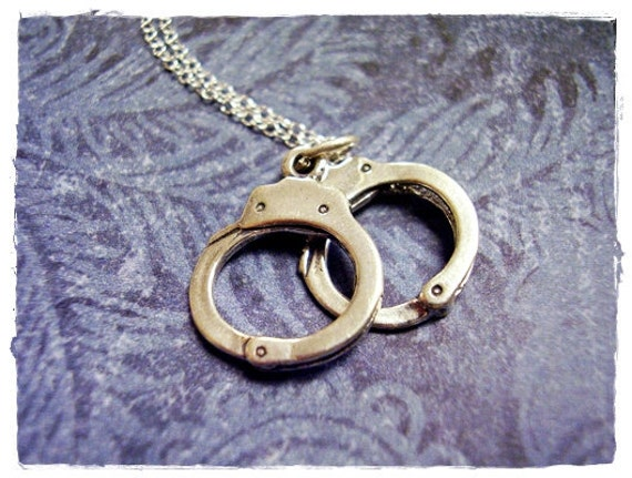 Silver Handcuffs Necklace - Sterling Silver Handcuffs Charm on a Delicate 18 Inch Sterling Silver Cable Chain