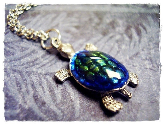 Tiny Blue Green Sea Turtle Charm Necklace in Enameled Antique Pewter with a Delicate 18 Inch Silver Plated Cable Chain