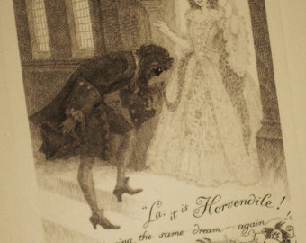 lovers, fan, flirtation, masked man, delighted woman, La, it is Horvendile. and we are having the same dream again - Frank Pape bookplate