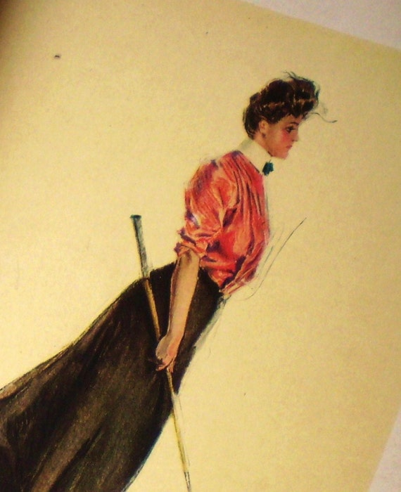 golf - My Lady on the Links - Christy illustration - book plate - woman with a golf club