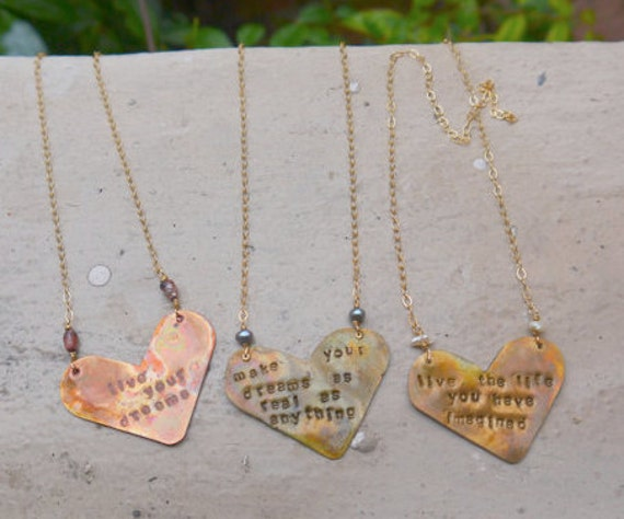 Custom QUOTE HEART Necklaces - unique.  PERSONALIZED custom gift. Song lyric necklaces. Family Names. great Mothers day gift