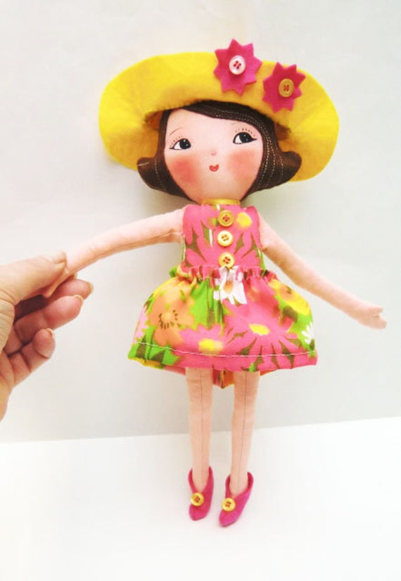 """Instant Digital Download-Art Doll Pattern PDF DIY """" Doll  Girl Ginger  """" sewing  free shipping"""