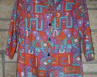 Vintage 1960s Multicolored PSYCHEDELIC Print Tunic Shirt