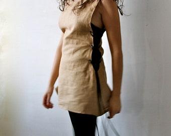 Medieval Tunic, linen tunic, sleeveless top, women top, linen top, women medieval clothes, LARP tunic, linen dress, pinafore, women clothing