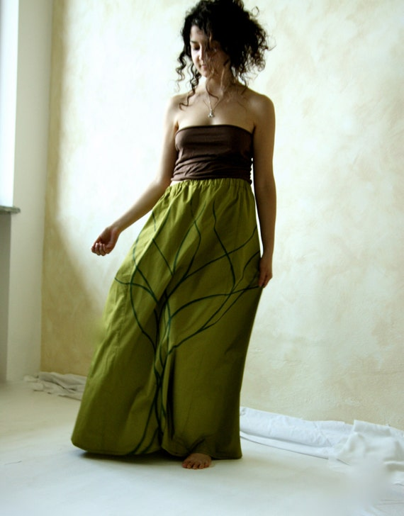 Maxi skirt, Women skirt, long skirt, cotton skirt, hand painted skirt, Green skirt, floor length skirt, boho skirt, women clothes, Plus size