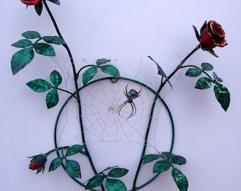 Handmade Copper Rosebush with Brass Spider and Heart Shaped Stainless Steel Web Wall Mount Metal Sculpture