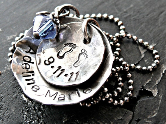 New Baby Rustic Silver Necklace, Personalized Necklace, Mothers Jewelry, Birthstone Necklace, Mothers Custom Necklace, Hand Stamped Charms