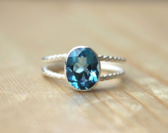 Swiss Blue Topaz - Bezel Set Double Rope Sterling Silver Glamour Ring, engagement ring, something blue, proposal ring
