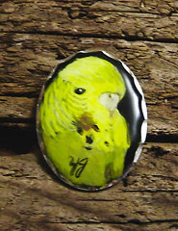 Yellow Parakeet, Original, Miniature, Hand Painted  Pendant