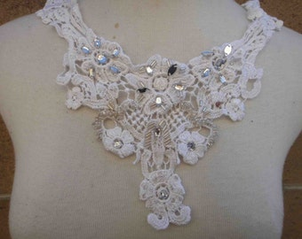 Cute whit applique yoke with rhinestones 1 piece listing