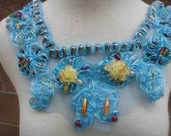 Cute embroidered and beaded  applique yoke   blue color 1 pieces listing