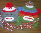 sock monkey earflap winter hat