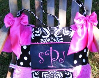 Diaper Bag Hot Pink Fur Black n White Polka Dot n Damask Hot Pink Bows Gorgeous