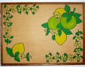 Mod Yellow & Green Burlap Kitchen Bulletin Board