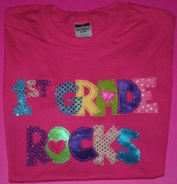 First Grade Rocks Appliqued Teacher Shirt
