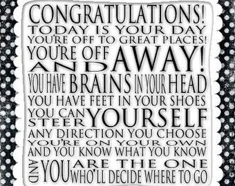Congratulations Quote - Dr. Seuss Print Contemporary Cafe Mount 6x6 Graduation Dot Dotty - Black and White Art Block