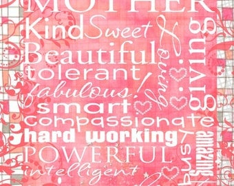 MOTHER Subway Contemporary 16x20 Gallery Wrapped Canvas Word Art Print - Motivational Mom - Art Poster