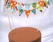 Cake Bunting - Orange, Aqua Blue, Lime Green, Brown Cake Topper