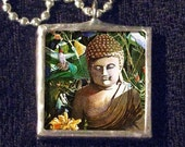 Buddha Necklace - Lotus Flower Necklace - with Silver Chain