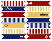 Nautical Birthday PRINTABLE Party Flags (INSTANT DOWNLOAD) by Love The Day