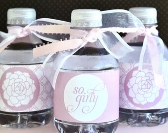 Vintage Girly Baby Shower PRINTABLE Party Drink Labels (INSTANT DOWNLOAD) from Love The Day