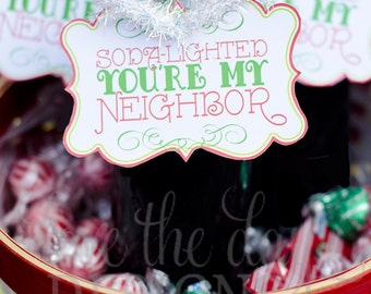 Christmas PRINTABLE Party 'Soda Delighted You're My Neighbor' Gift Tags (INSTANT DOWNLOAD) by Love The Day