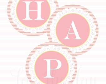 Frilly Tea Party PRINTABLE Happy Birthday Banner (INSTANT DOWNLOAD) by Love The Day