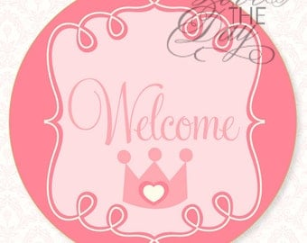 Pink Princess Party PRINTABLE Birthday Welcome Sign (INSTANT DOWNLOAD) by Love The Day