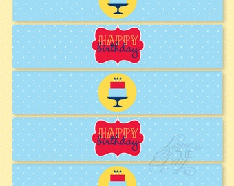 Birthday Party PRINTABLES Polka Dot Drink Label by Love The Day