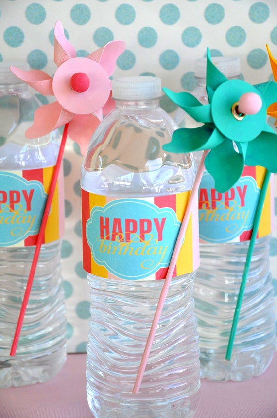 Pinwheel Party PRINTABLE Drink Labels from Love The Day
