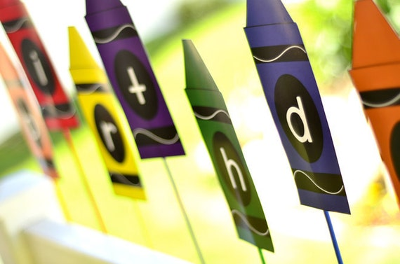 crayon printable party happy birthday banner instant by