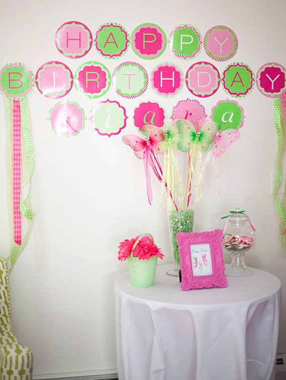 Princess Fairy Party PRINTABLE Happy Birthday Banner (INSTANT DOWNLOAD) by Love The Day