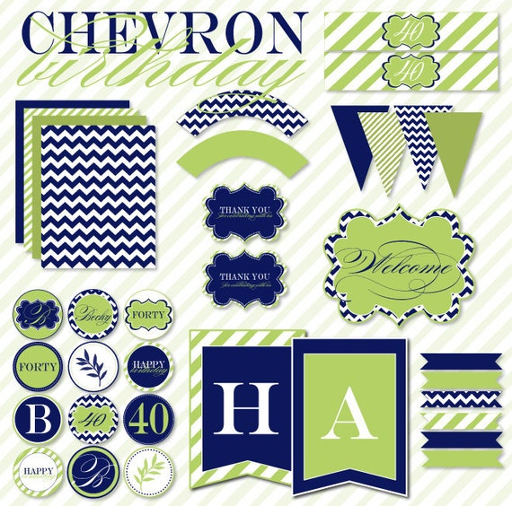 Chevron Birthday Party PRINTABLE Full Collection by Love The Day