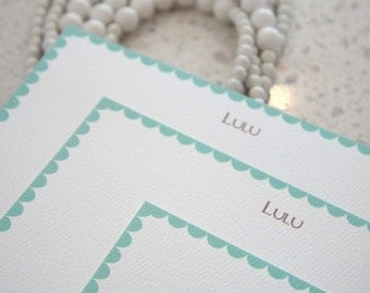 Scallop Border Note Cards / Turquoise / Aqua / Flat Notes / Personalized / Set of 10
