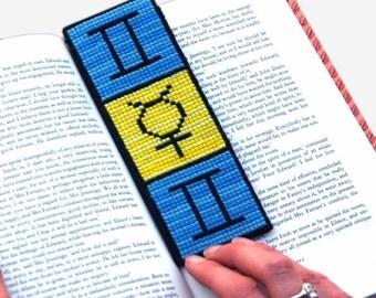 Gemini Cross Stitch Kit Astrology Zodiac Bookmark