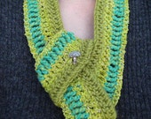 Teal and Apple Green Scarf Crocheted Scarflette OOAK Convertible Scollar Style with a Cute Mushroom Shaped Button ... Amanita Gemmata ...
