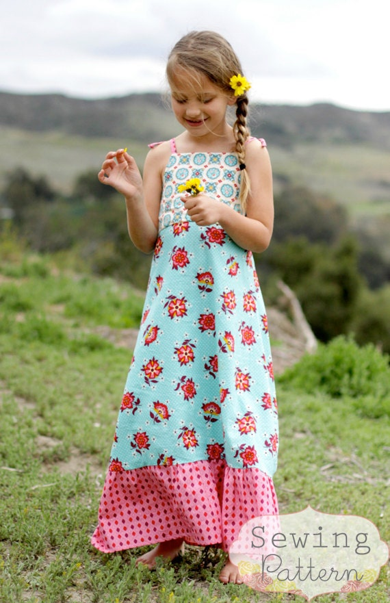 INSTANT DOWNLOAD- Halley Maxi Dress (Size 2T to Size 8) Pdf Sewing Pattern and Tutorial